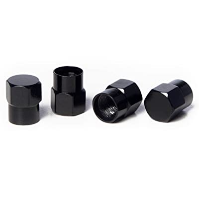 Circuit Performance VC3 Series Black Aluminum Valve Stem Caps (Set of 4): Automotive
