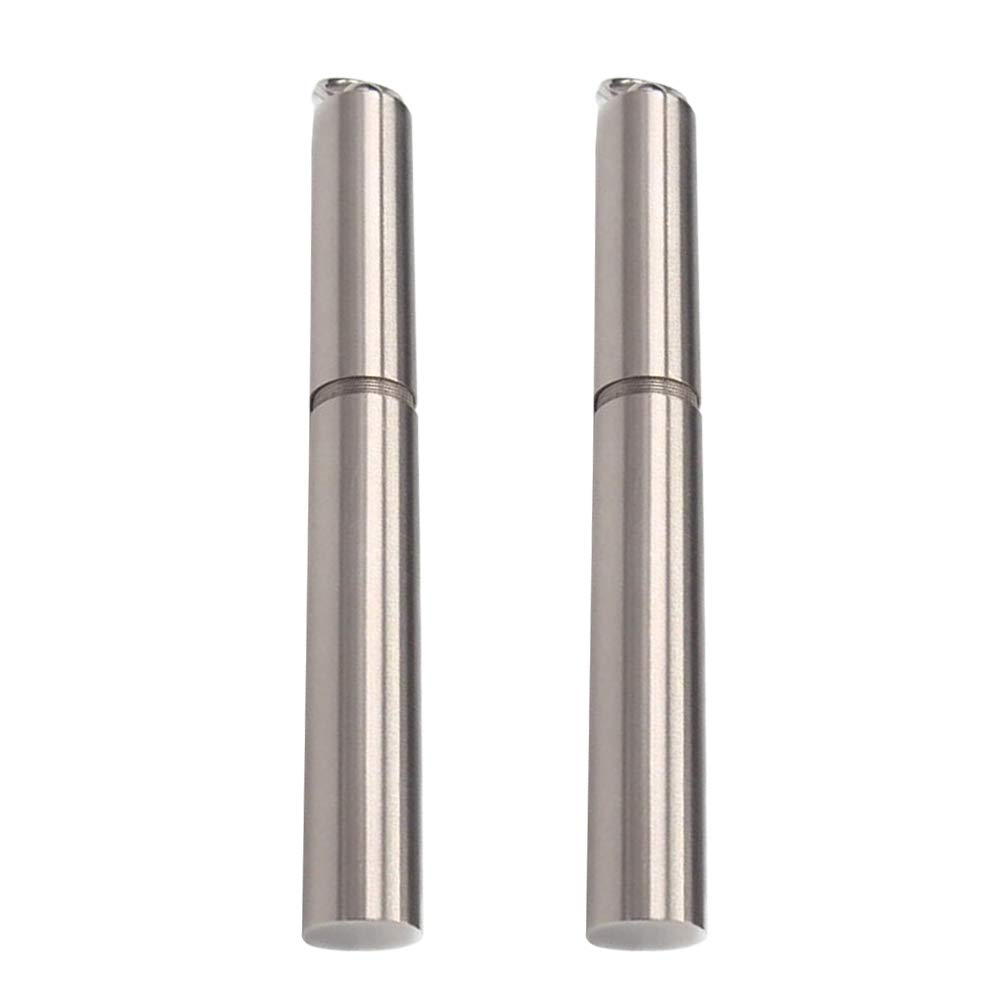 BESTONZON 2pcs Stainless Steel Toothpick Holder Pocket Toothpick Case with Keychain,Portable, Waterproof(8.3 x 1 x 1cm,No toothpicks)
