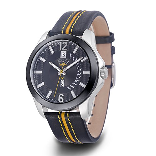 ESQ Men's Casual Stainless Steel Analog-Quartz Watch with Leather-Pig-Skin Strap, Black, 22 (Model: 37ESQE09201A)