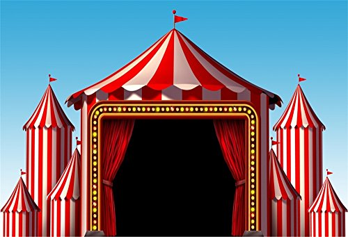 Customized Party Banners (LFEEY 10x8ft Circus Photo Backdrop Red Tent Carnival Photography Background Vinyl Baby Kids Birthday Party Banner Customized Photo Booth Prop Baby)