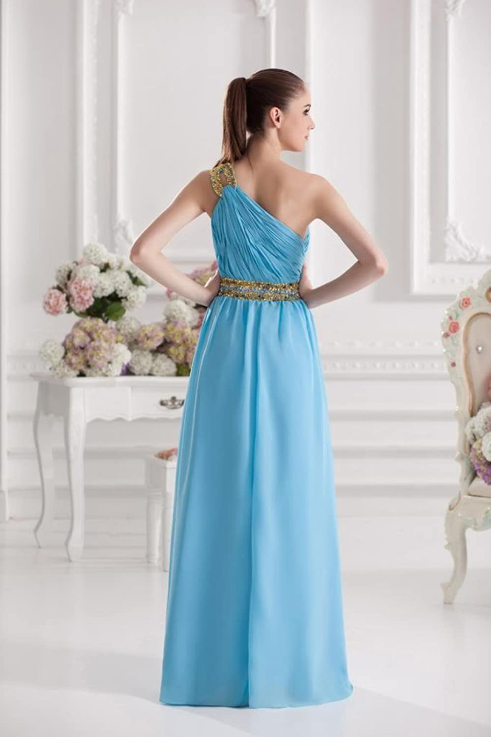 GEORGE BRIDE Blue Gorgeous One Shoulder Beading Long Evening Dress