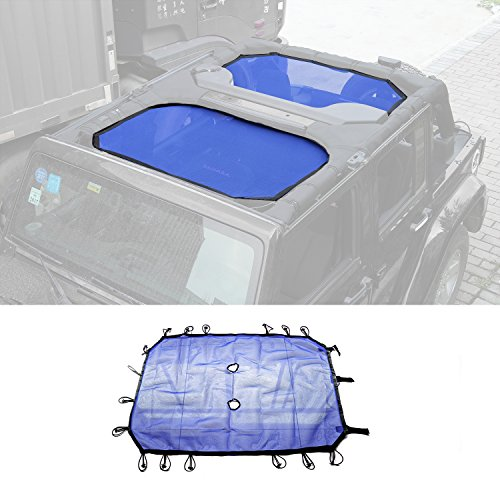 RT-TCZ BLUE Durable Mesh Sunshade Top Cover Provides UV Sun Protection for 2007-2017 Jeep Wrangler JK or JKU -4 Door