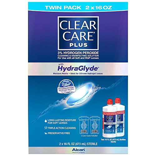 Clear Care Plus with Hydraglyde Cleaning & Disinfecting Solution Twin Pack with 2 Lens Cases Included 16 oz by Alcon