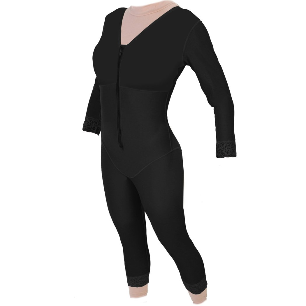 Post Abdominal Liposuction Compression Garment | Tummy Tuck Body Shaper with Sleeves - Contour Style 28S(Medium, Black)