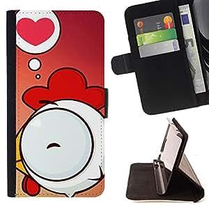 BullDog Case - FOR/Apple Iphone 5C / - / Cute Chicken Love /- Monedero de cuero de la PU Llevar cubierta de la caja con el ID Credit Card Slots Flip funda de cuer