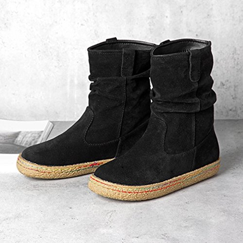 Inkach Women Mid Calf Boots Winter Snow Martin Boots Round Toe Flat Ankle Shoes Black I1EgL2DA7H