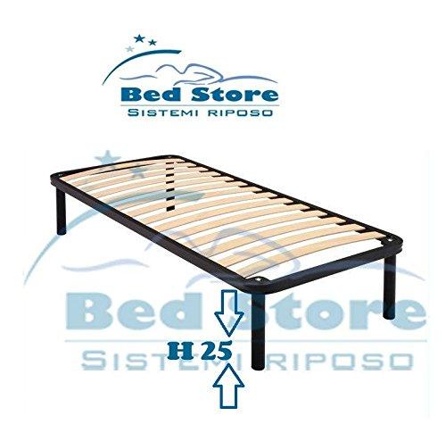 RETE A DOGHE STRETTE SINGOLA LETTO SINGOLO 90X195 ORTOPEDICA + CON 4 PIEDI H25 Bed Store