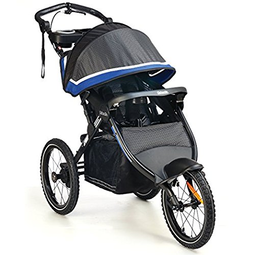 Fast Jogging Premium Baby Stroller Jogger, LIGHTWEIGHT (26 lbs) With Aerodynamic Front wheel Design + Hand breaks For Infants, Toddlers And Kids, JPMA Certified, Gray-Blue