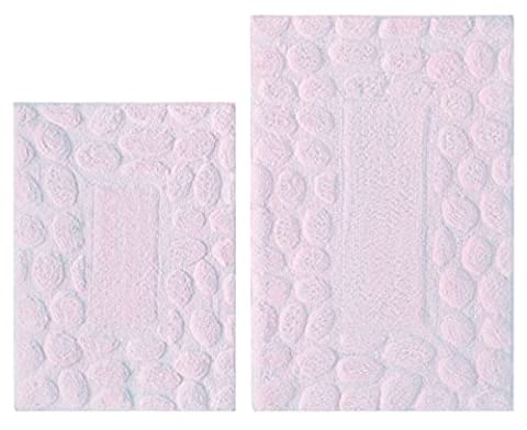 Cotton Craft - 2 Piece Bath Rug Set - Pebbles - Lilac - 100% Pure Cotton with Spray Latex Back and absorbent - Super Soft and Plush - Hand Tufted Heavy Weight Durable Construction - Larger Rug is 21x32 Oblong and Second rug is Oblong 18x24 - Other Styles available - New Scroll, Greek Key, Palm Tree, Grid Stripe, Reversible Race Track, Tweed Race Track and Solid Reversible - Easy care machine (Bath Rug Sets 2 Piece)