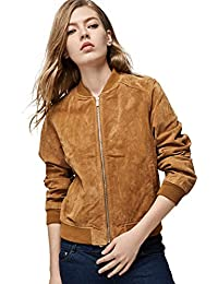 Women`s Genuine Leather Jacket Zip Up Suede Quilted Bomber Biker Coat