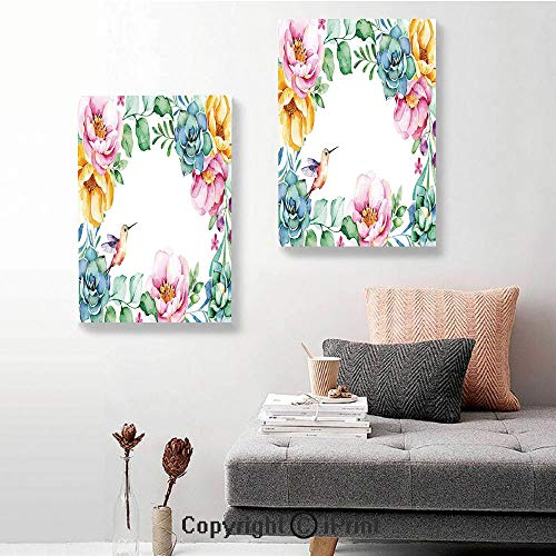 SfeatruRWF 2 Piece Multi Panel Hanging Canvas,Nature Themed Framework with Floral Flourish Border and Cute Little Hummingbird Decorative,16