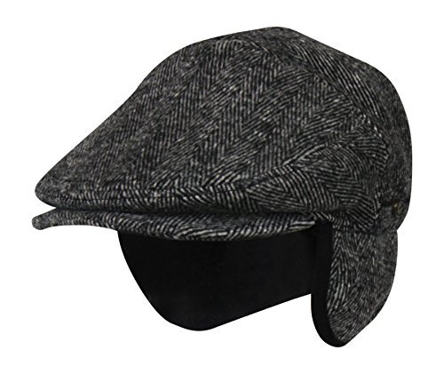 Medium 100% Wool Herringbone Winter Ivy Cabbie Hat w/ Earflaps – Driving Hat
