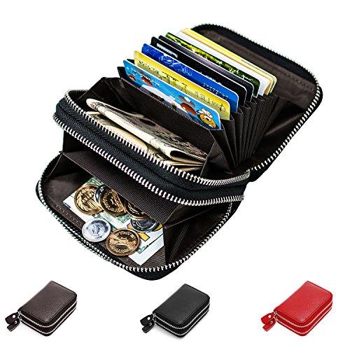 RFID Blocking Leather Wallet, Latest Credit Card Safe RFID Block Security Travel Wallets/Holder/Case/Protector (Black)