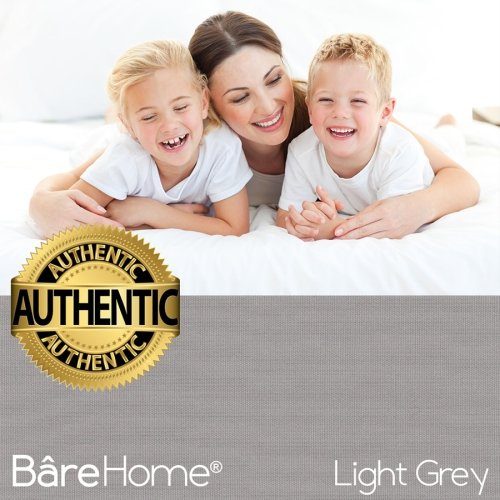 Bare Home Premium 1800 Ultra-Soft Microfiber Collection Sheet Set - Double Brushed - Hypoallergenic - Wrinkle Resistant - Deep Pocket (King, Light Grey) by Bare Home (Image #7)