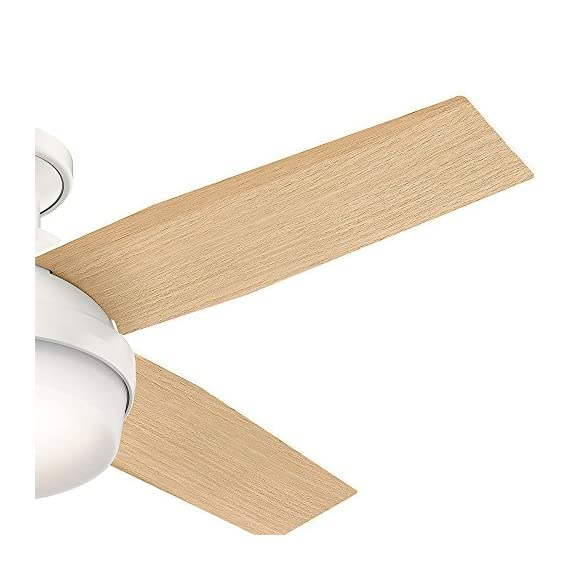 Hunter 59244 Dempsey Low Profile Fresh White Ceiling Fan With Light & Remote, 44 Inch 5 WhisperWind motor delivers ultra-powerful air movement with whisper-quiet performance so you get the cooling power you want without the noise you don't Reversible motor allows you to change the direction of your fan from downdraft mode during the summer to updraft mode during the winter For indoor use only, Low Profile housing is specially designed to fit flush to the ceiling and is ideal for use in rooms with low ceilings