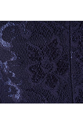 Damen Langarm V-Ausschnitt Peplum figurbetontes Spitzenkleid