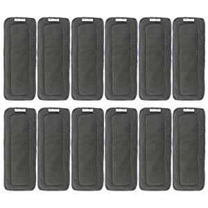 AlVABABY 5-Layer BambooCharcoalViscoseStapleFiber Inserts/ Reusable Liners for Baby Cloth Diapers 12pcs 12ZTN
