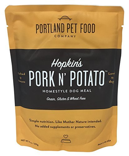 Portland Pet Food Company 6 Piece Hopkin's Pork N' Potato All Natural Dog Food Microwavable Meal Pouches| Healthy, Wholesome USDA Ingredients | Fully Cooked