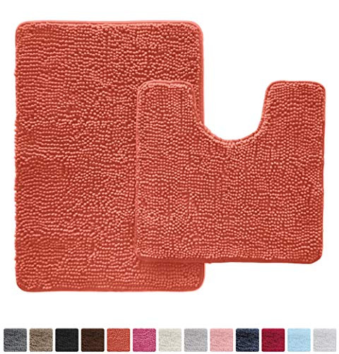 Gorilla Grip Original Shaggy Chenille 2 Piece Bath Rug Set Includes Oval U-Shape Contoured Mat for Toilet and 30x20 Carpet Rug, Machine Wash Dry Mats, Plush Rugs for Tub, Shower and Bath Room, Coral ()