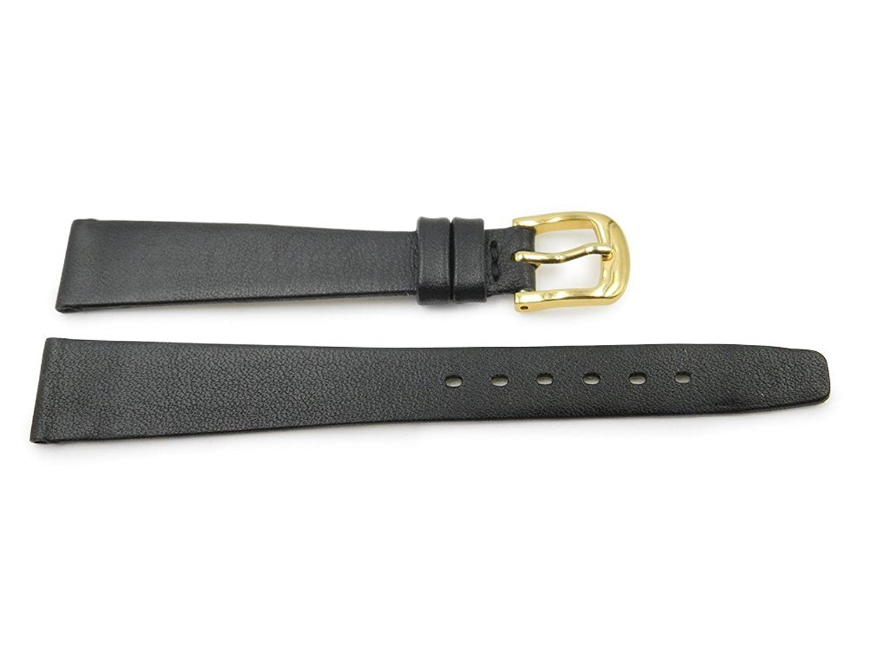 14 mm Genuineレザーブラックレディーススムースフラット腕時計ストラップ  B06W9GF91T