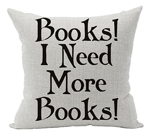 Cotton Linen Square Decorative Throw Pillow Case Cushion Cover Book Lover Reading Book Club Books I Need More Books 18