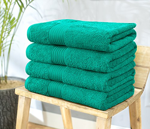 Dark Large Green (Swiss Republic 100% Ring Spun Cotton 4 Piece Bath Towel Set (Dark Green); set of 4 Extra Large Bath Towels, Machine Washable, Super Soft, Double Stitch Hem, Quick Dry)