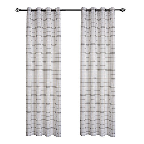 Curtain Plaid Bed (DEZENE Buffalo Checkered Sheer Curtains for Living Room Plaid Faux Linen Grommets Voile Curtains Set of 2 Panels 52 Inches Width x 63 Inches Long Black with Brown)