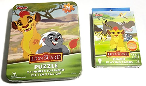 The Lion Guard Jumbo Playing Cards & 24 Piece Puzzle In Collectible Tin Case