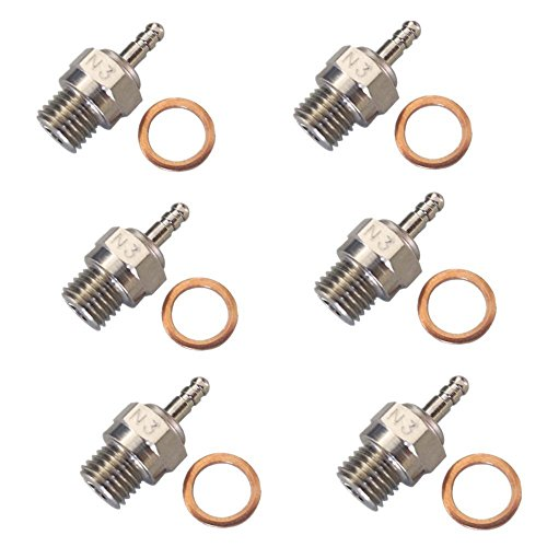 Hobbypark 70117H Hot Glow Plug N3 No. #3 Spark Nitro Engine Parts Replace OS For HSP Traxxas Himoto RC Car Truck Buggy (Pack of 6) (Car Parts Nitro Rc Truck)