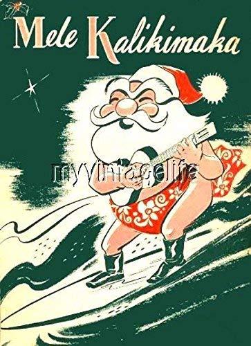 (Vintage Hawaiian Merry Christmas Mele Kalikimaka Quilting Fabric Block supplier_myvintagelife)