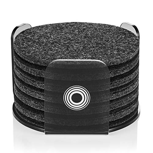 Felt Mali - Coasters for Drinks with Modern Acrylic Holder | Absorbent Felt Coaster Set of 12 | Perfect Gifs for Women & Men | Protects Your Table & Desk | Home Design Color MIX (Charcoal/Black)