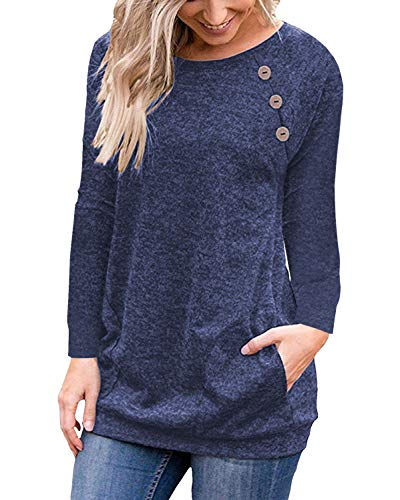 - PinUp Angel Navy Women's Casual Long Sleeve Button T-Shirt Tunic Top Solid Blouse Pockets