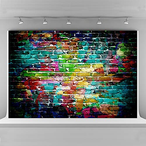 Graffiti Brick Wall Photo Booth Backdrop 10x6.5ft Hip Hop Party Decorations Colorful Seamless Cloth Backgrounds for Photography (Graffiti Brick Wall)