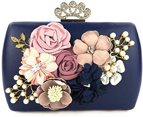 Y DWAYNE plånbok Dinner Party bal brudväska dam elegant kuvert plånbok med blomdekoration aftonväska bröllop kuvertväska plånbok party Vitt