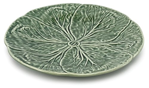 Green Cabbage Leaf Majolica Pottery Dinner Plate