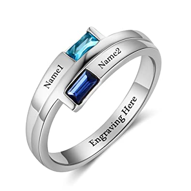0d00071fbb Diamondido Promise Ring Personalized Engraved Names Lover Simulated  Birthstone Couples Engagement Rings for Women (5
