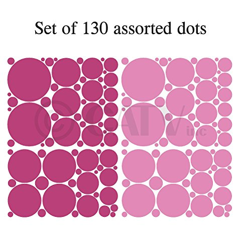 (Set of 130 Pink and Dark Pink Polka Dots Circles Wall Decor Graphic Vinyl Lettering Mural Decal Stickers Kit Peel and Stick Appliques)