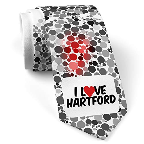 Neck Tie with I Love Hartford White with Color Print