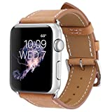 Marge Plus Apple Watch Band Genuine Leather iWatch Strap for Apple Watch Series 2 Series 1, 38mm Brown