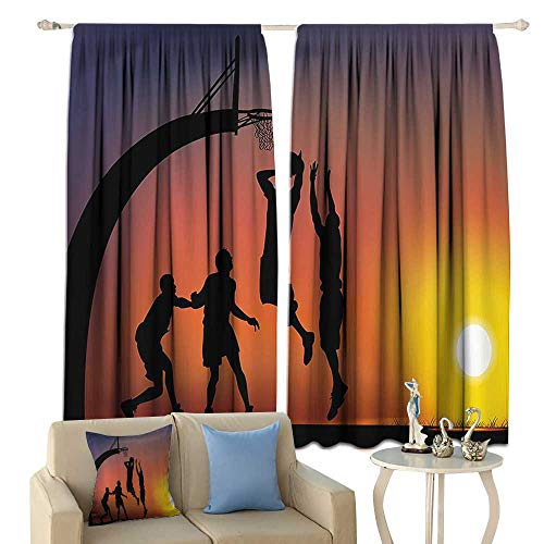 Teen Room Decor Blackout Curtains Boys Playing Basketball at Sunset Horizon Sky Dramatic Scene Home Garden Bedroom Outdoor Indoor Wall Decorations from cobeDecor