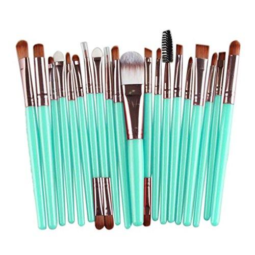 WuyiMC 20 Pieces Makeup Brush Set Professional Face Eye Shadow Eyeliner Foundation Blush Lip Makeup Brushes Powder Liquid Cream Cosmetics Blending Brush Tool (Gold)