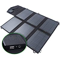 SUNKINGDOM™ 39W 2-Port DC USB Solar Charger with Portable Foldable Solar Panel PowermaxIQ Technology for iPhone, iPad, iPod, Samsung, Camera, and More (Black)