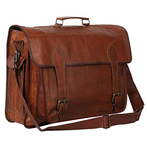 34,3cm Zoll hoch & 45,7cm Zoll lang genarbtem Veg Tan handgearbeitet braun echtem Leder Vintage Designer Business Tasche Laptop Tasche Hand in Handarbeit von indicraft INC