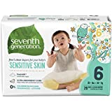 Seventh Generation Baby Diapers, Free and Clear for Sensitive Skin with Animal Prints, Size 6, 80 Count