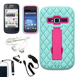 [ARENA] TEAL PINK BRAID BLING HYBRID STAND COVER FITTED HARD GEL CASE for ZTE CONCORD 2 + FREE ARENA ACCESSORY KIT