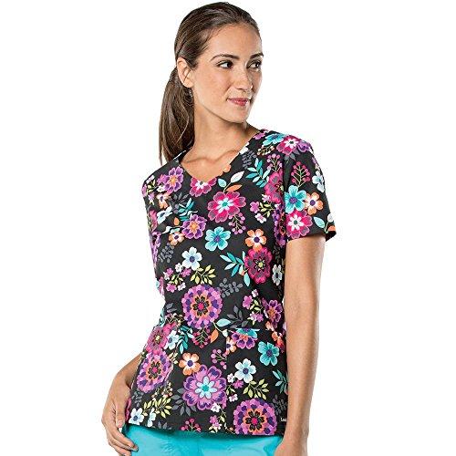 (Landau Women's V-Neck Floral Print Tunic Scrub Top Medium)