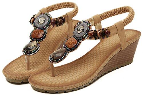 BIGTREE Women Sandals Bohemian Beach Beads Soft Buckle Wedge Dress Sandals Beige KQRmNfF