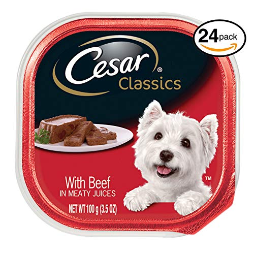 CESAR CANINE CUISINE Wet Dog Food with Beef, (Pack of24) 3.5-oz Trays