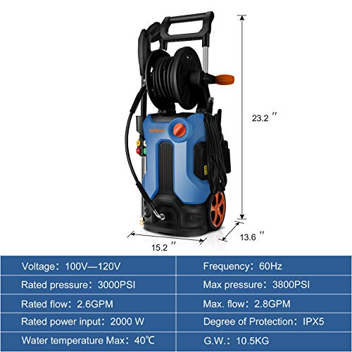 3800PSI Pressure Washer 2.8GPM Electric Power Washer 2000W High Pressure Cleaner Machine with 4 Nozzles Foam Cannon,Best…