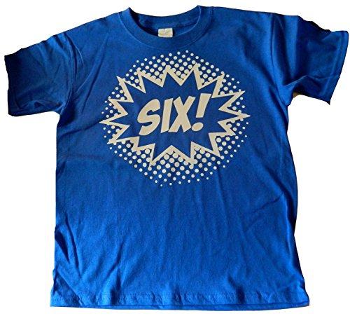 Shirt Birthday Boys (Custom Kingdom Big Boys' Six Superhero 6th Birthday T-Shirt (Small 6/8, Royal Blue))